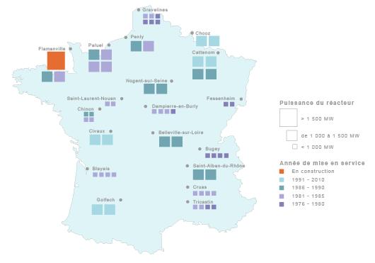 Localisation réacteurs nucléaires en France