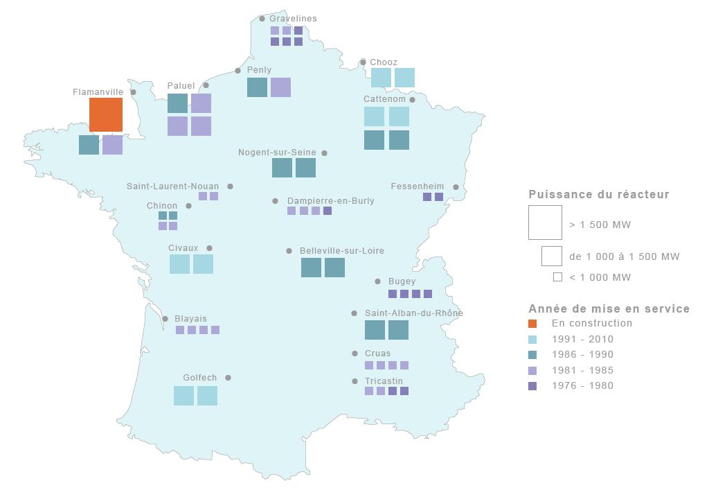 Favori Parc nucléaire français : nombre de réacteurs, localisation  UZ59