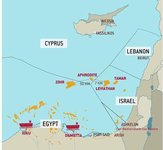Carte des principales découvertes de gaz naturel en Méditerranée orientale