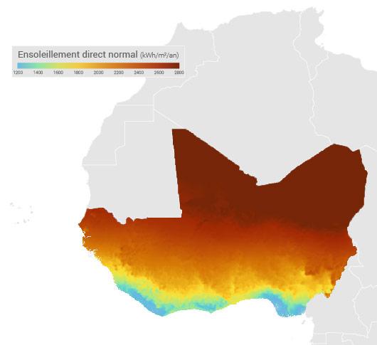 Ensoleillement Afrique de l'Ouest