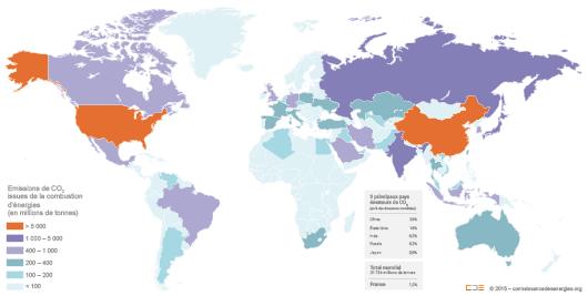 Carte des émissions de gaz à effet de serre issues de la combustion d'énergie par pays