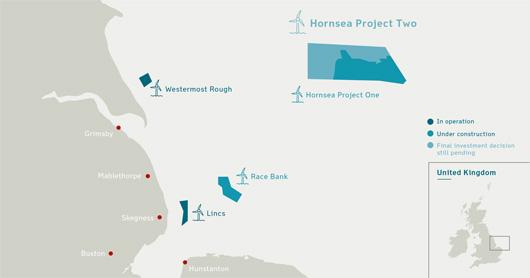 Localisation du parc éolien Hornsea 2