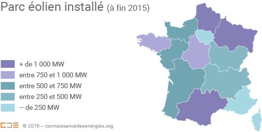 Puissance éolienne raccordée par région