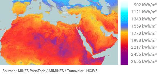 Potentiel de production photovoltaïque par an en Afrique du Nord et au Moyen-Orient