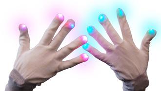 des gants lumineux LED