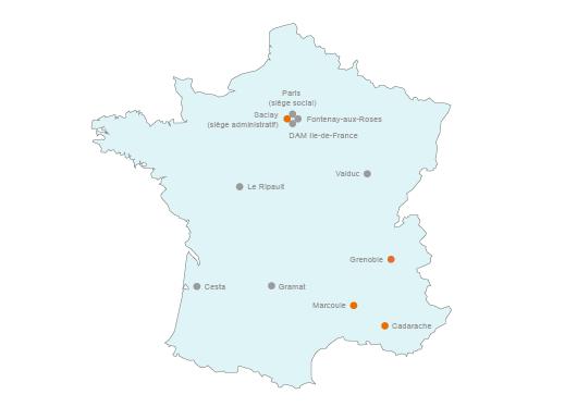 Les 4 principaux centres d'études centrés sur l'énergie sont mentionnés par un rond orange.