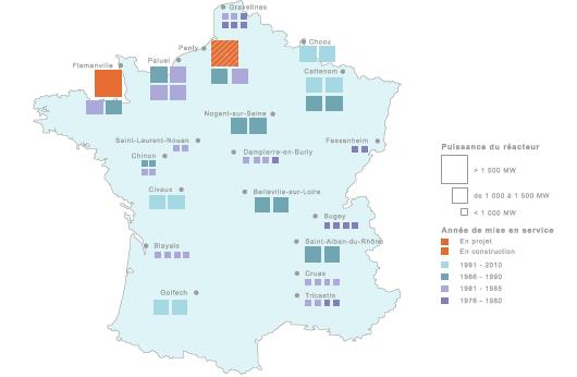 Répartition des réacteurs du parc nucléaire français (©Connaissance des Énergies)