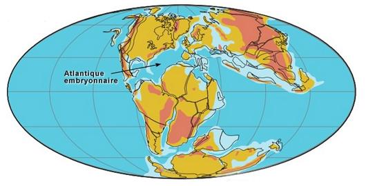 Carte du monde au début du Crétacé, - 120 millions d'années (©2001 C.R. Scotese PALEOMAP Project)