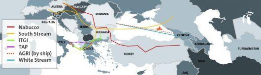 Carte du corridor gazier sud
