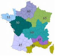 La Cep max (en kWh/m2/an) est modulée en fonction de la localisation géographique