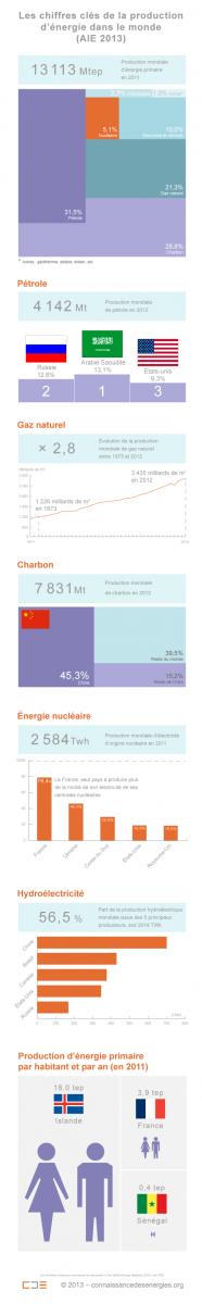 L'AIE délivre les dernières données consolidées dont elle dispose. La plupart d'entre elles se réfèrent à l'année 2012 mais la production globale d'énergie primaire indiquée concerne l'année 2011. (©Connaissance des Énergies)