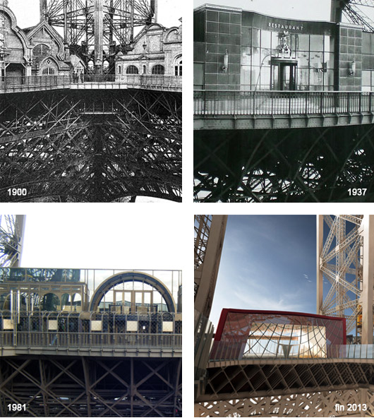 Le 1e étage connaît sa troisième grande opération de rénovation depuis 1900. Ici, images des pavillons. (©collection tour Eiffel et ©agence Moatti-Rivière pour le dernier visuel)