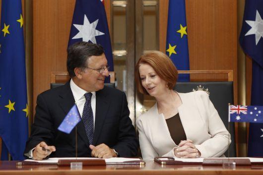 ccord entre l'Australie et la Communauté européenne de l'énergie atomique (EURATOM): Julia Gillard, à droite, et José Manuel Barroso