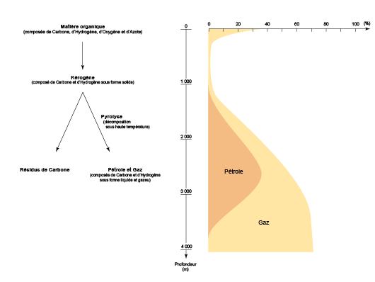 Hydrocarbures générés à partir du kérogène en fonction de la profondeur d'enfouissement (©2011, d'après le département de géologie de l'université Laval)