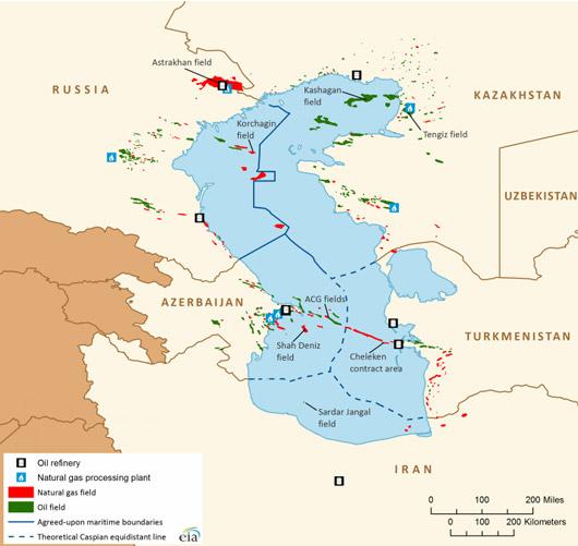 Carte mer Caspienne