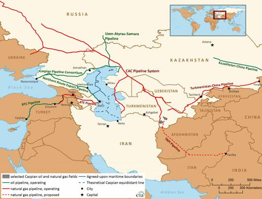 Exportations de pétrole et de gaz de la Caspienne