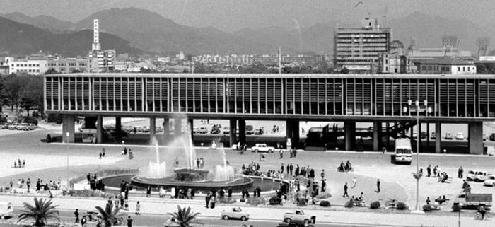 Le mémorial de la paix d'Hiroshima en 1955