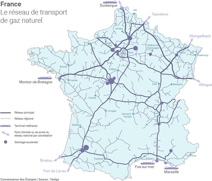 Carte du réseau gazier français