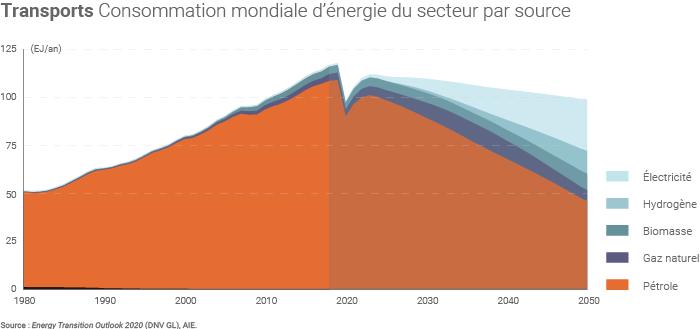 Consommation mondiale d'énergie du secteur transports