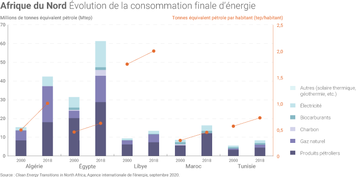 Consommation finale d'énergie des pays d'Afrique du Nord
