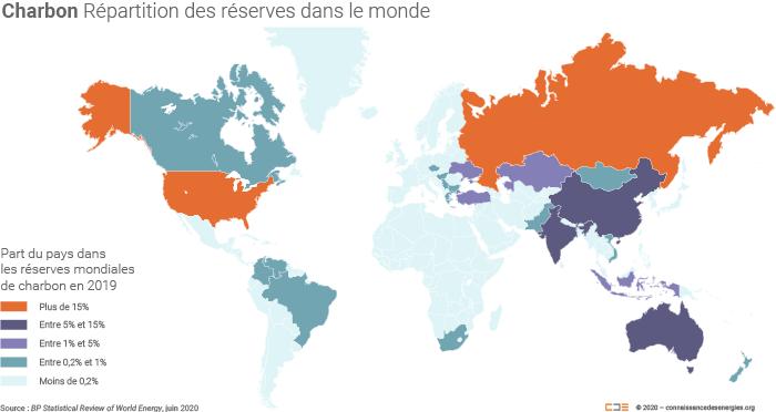 Répartition des réserves de charbon dans le monde