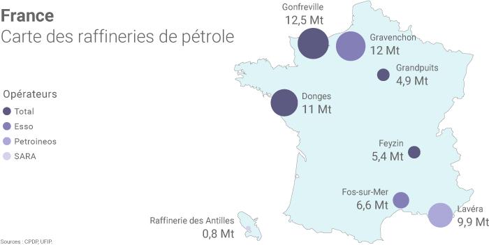 Carte des raffineries de pétrole en France