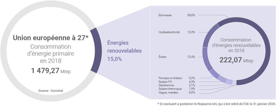 Part des renouvelables dans la consommation d'énergie primaire de l'UE