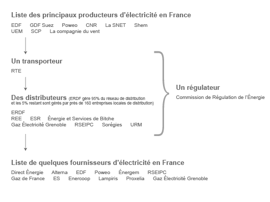 Liste non exhaustive des différents acteurs du marché électrique (©2012)
