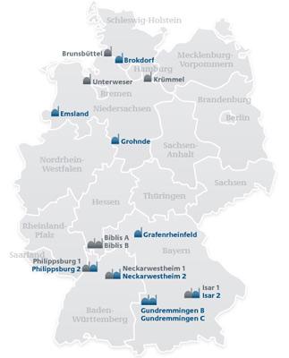 Localisation des 9 réacteurs nucléaires en service et qui seront arrêtés d'ici à 2022