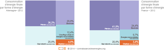 Consommation d'énergie finale par forme d'énergie en Allemagne et en France