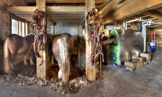 La chaudière à gazéification du refuge de Sarennes peut brûler le méthane issu du fumier des chevaux (©bernard vallet - refuge de Sarennes)