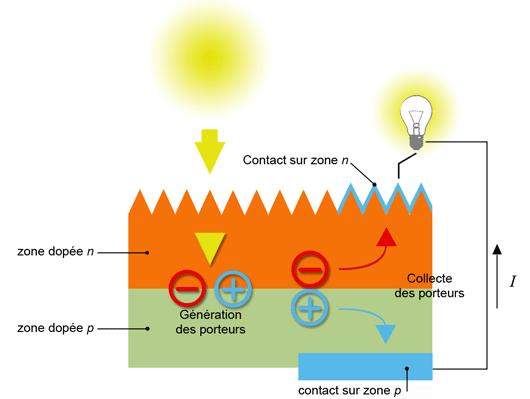 Constitution d'une cellule photovoltaïque (d'après source CEA)