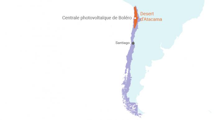 La centrale photovoltaïque de Boléro est implantée au cœur du désert d'Atacama, dans le nord du Chili, à environ 100 km au nord-est d'Antofagasta. (©Connaissance des Énergies)